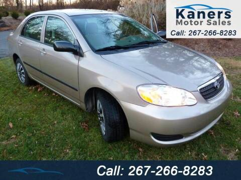 2006 Toyota Corolla for sale at Kaners Motor Sales in Huntingdon Valley PA