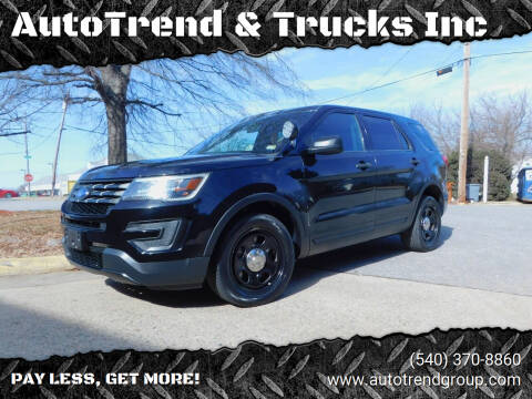 2016 Ford Explorer for sale at AutoTrend & Trucks Inc in Fredericksburg VA