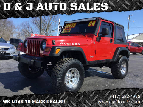 2004 Jeep Wrangler for sale at D & J AUTO SALES in Joplin MO