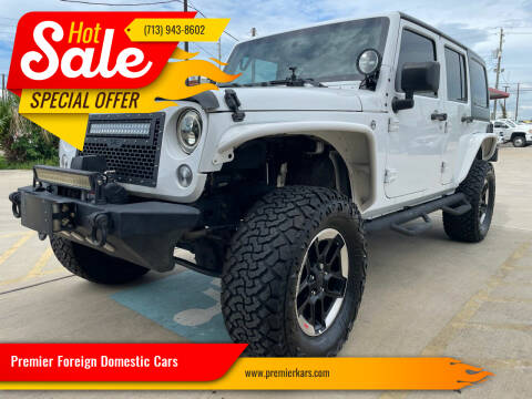 2016 Jeep Wrangler Unlimited for sale at Premier Foreign Domestic Cars in Houston TX