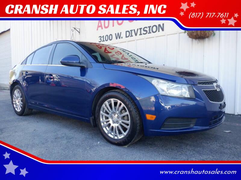 2013 Chevrolet Cruze for sale at CRANSH AUTO SALES, INC in Arlington TX