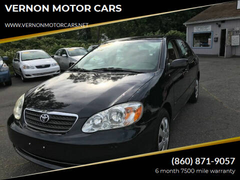 2008 Toyota Corolla for sale at VERNON MOTOR CARS in Vernon Rockville CT