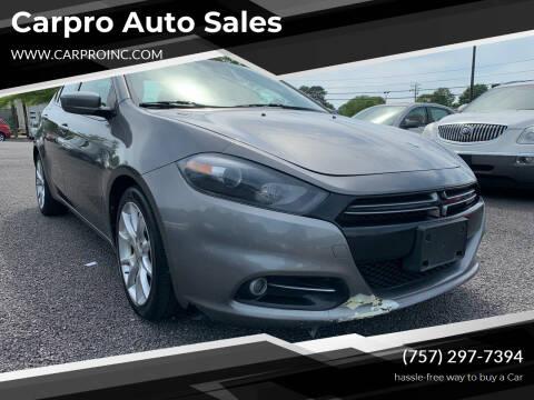 2013 Dodge Dart for sale at Carpro Auto Sales in Chesapeake VA