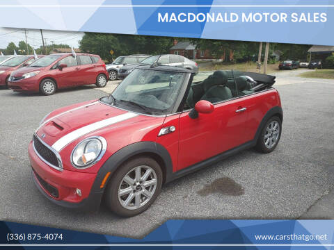 2015 MINI Convertible for sale at MacDonald Motor Sales in High Point NC