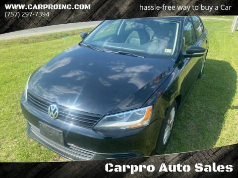 2012 Volkswagen Jetta for sale at Carpro Auto Sales in Chesapeake VA