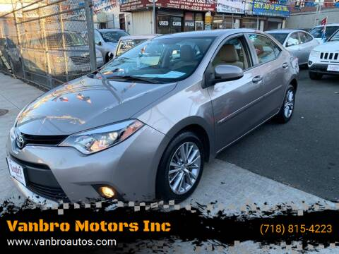 2014 Toyota Corolla for sale at Vanbro Motors Inc in Staten Island NY