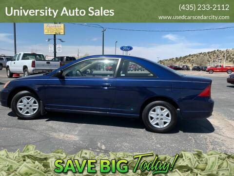 2003 Honda Civic for sale at University Auto Sales in Cedar City UT