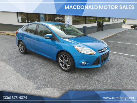 2013 Ford Focus for sale at MacDonald Motor Sales in High Point NC