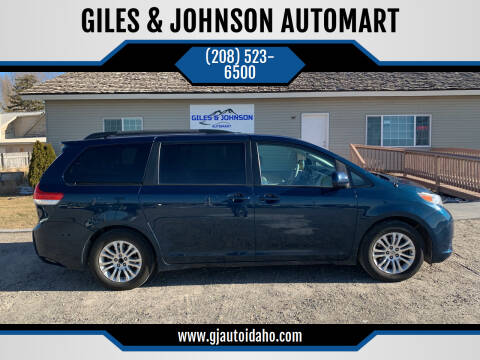 2012 Toyota Sienna for sale at GILES & JOHNSON AUTOMART in Idaho Falls ID