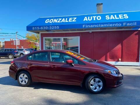 2015 Honda Civic for sale at Gonzalez Auto Sales in Joliet IL
