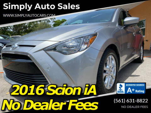 2016 Scion iA for sale at Simply Auto Sales in Palm Beach Gardens FL