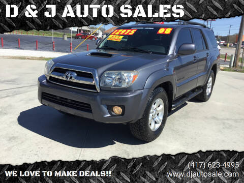 2008 Toyota 4Runner for sale at D & J AUTO SALES in Joplin MO