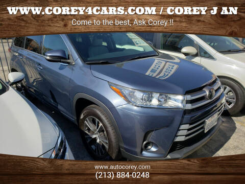 2017 Toyota Highlander for sale at WWW.COREY4CARS.COM / COREY J AN in Los Angeles CA