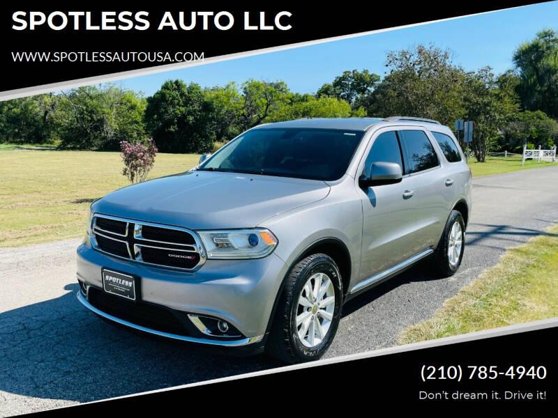 2015 Dodge Durango for sale at SPOTLESS AUTO LLC in San Antonio TX