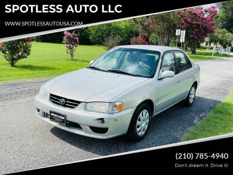 2001 Toyota Corolla for sale at SPOTLESS AUTO LLC in San Antonio TX