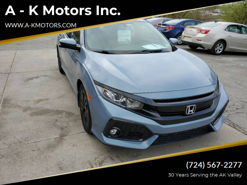 2017 Honda Civic for sale at A - K Motors Inc. in Vandergrift PA
