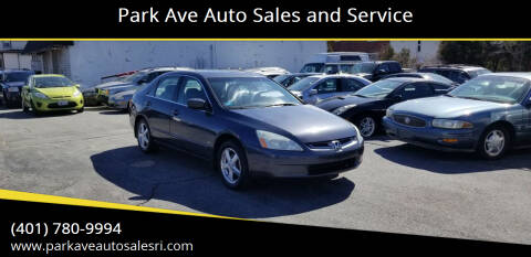 2004 Honda Accord for sale at Park Ave Auto Sales and Service in Cranston RI