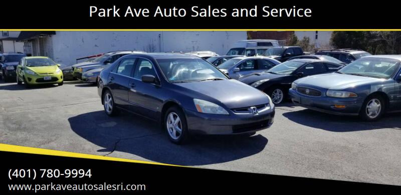 2004 Honda Accord for sale at Park Ave Auto Sales and Service in Cranston RI