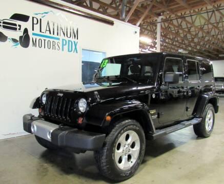 2013 Jeep Wrangler Unlimited for sale at Platinum Motors in Portland OR