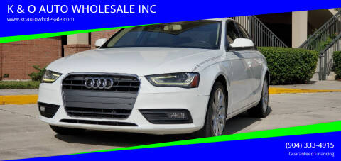 2013 Audi A4 for sale at K & O AUTO WHOLESALE INC in Jacksonville FL