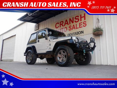 2005 Jeep Wrangler for sale at CRANSH AUTO SALES, INC in Arlington TX