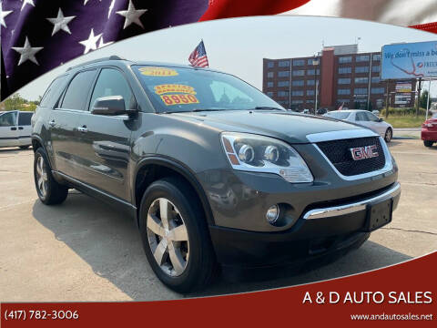 2011 GMC Acadia for sale at A & D Auto Sales in Joplin MO