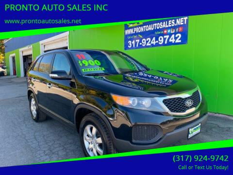 2011 Kia Sorento for sale at PRONTO AUTO SALES INC in Indianapolis IN