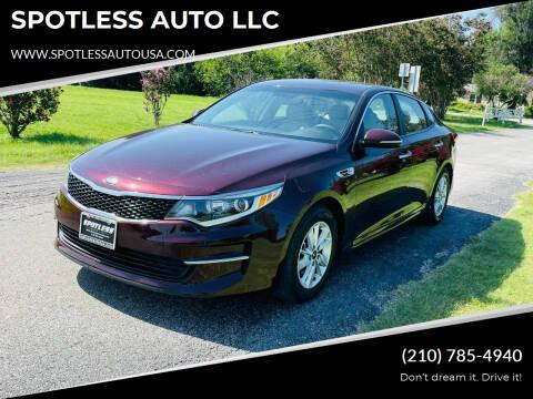 2018 Kia Optima for sale at SPOTLESS AUTO LLC in San Antonio TX