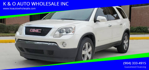 2011 GMC Acadia for sale at K & O AUTO WHOLESALE INC in Jacksonville FL
