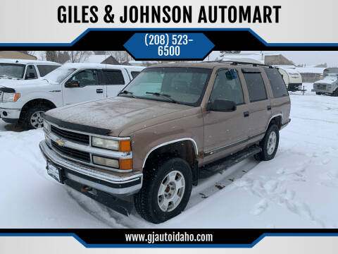 1995 Chevrolet Tahoe for sale at GILES & JOHNSON AUTOMART in Idaho Falls ID