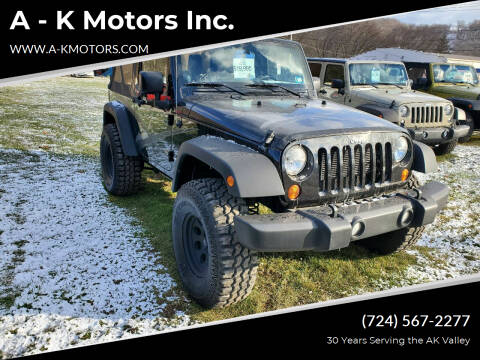 2012 Jeep Wrangler for sale at A - K Motors Inc. in Vandergrift PA