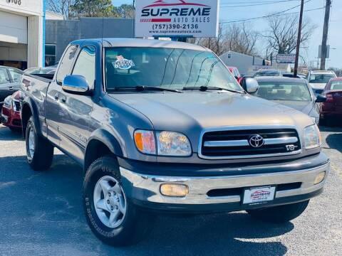 2000 Toyota Tundra for sale at Supreme Auto Sales in Chesapeake VA