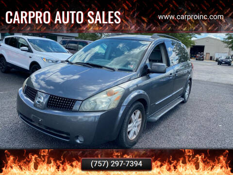 2004 Nissan Quest for sale at Carpro Auto Sales in Chesapeake VA