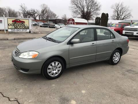 2004 Toyota Corolla for sale at Cordova Motors in Lawrence KS
