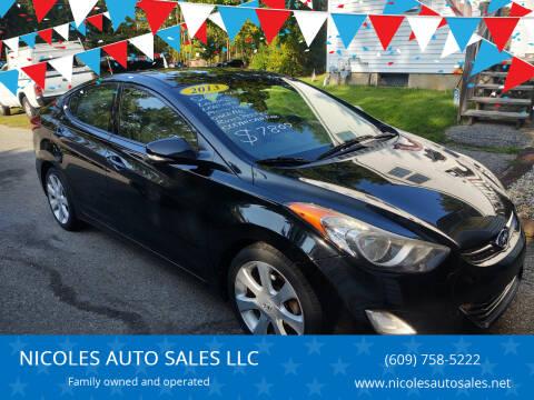2013 Hyundai Elantra for sale at NICOLES AUTO SALES LLC in Cream Ridge NJ