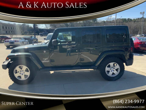 2012 Jeep Wrangler Unlimited for sale at A & K Auto Sales in Mauldin SC