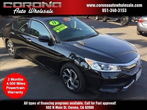 2017 Honda Accord for sale at Corona Auto Wholesale in Corona CA