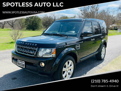 2014 Land Rover LR4 for sale at SPOTLESS AUTO LLC in San Antonio TX