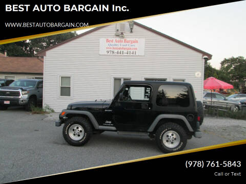 2003 Jeep Wrangler for sale at BEST AUTO BARGAIN inc. in Lowell MA
