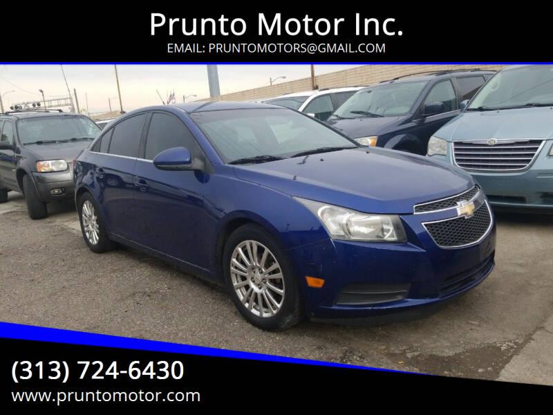 2012 Chevrolet Cruze for sale at Prunto Motor Inc. in Dearborn MI