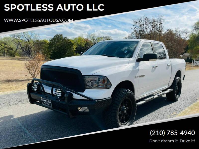 2010 Dodge Ram Pickup 1500 for sale at SPOTLESS AUTO LLC in San Antonio TX