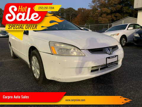 2005 Honda Accord for sale at Carpro Auto Sales in Chesapeake VA