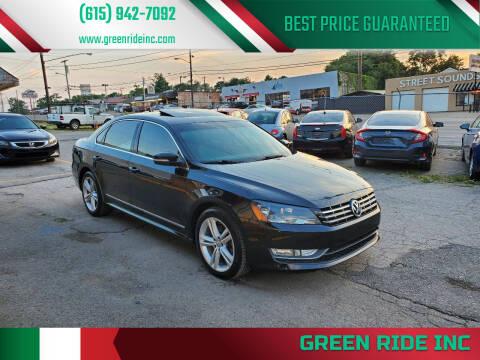 2013 Volkswagen Passat for sale at Green Ride Inc in Nashville TN