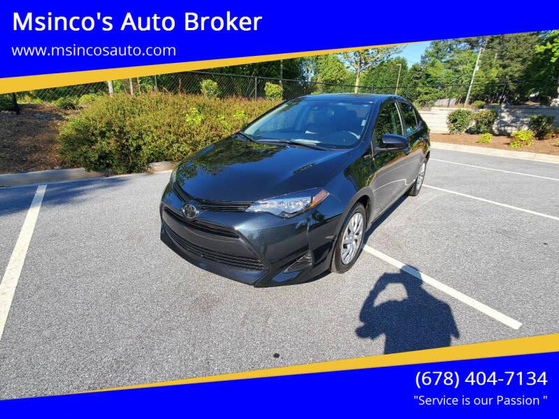 2019 Toyota Corolla for sale at Msinco's Auto Broker in Snellville GA