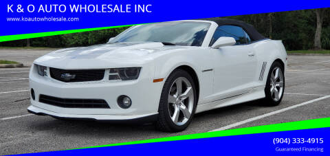 2011 Chevrolet Camaro for sale at K & O AUTO WHOLESALE INC in Jacksonville FL