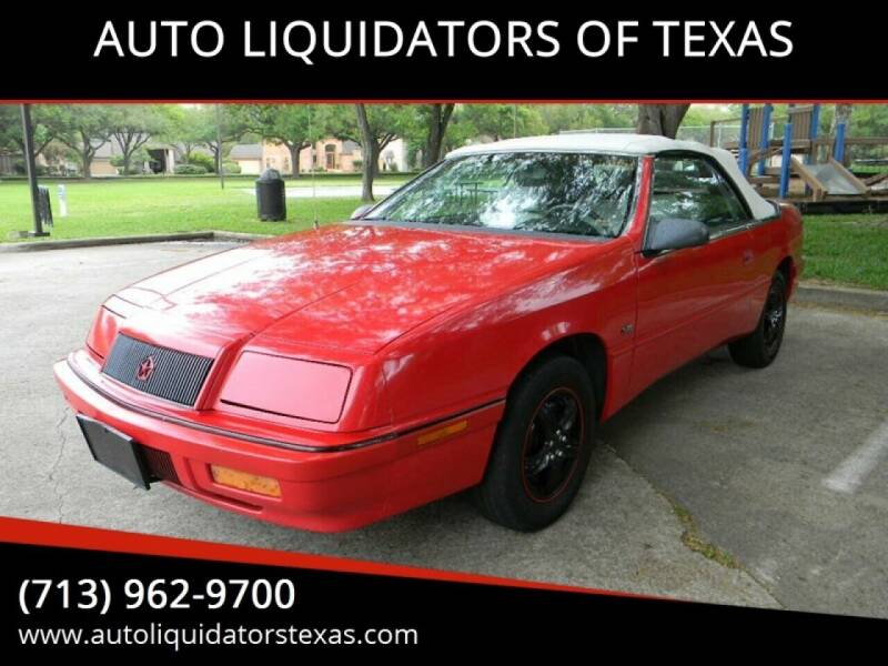 1992 Chrysler Le Baron for sale at AUTO LIQUIDATORS OF TEXAS in Richmond TX