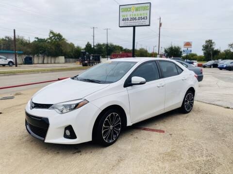 2015 Toyota Corolla for sale at Shock Motors in Garland TX