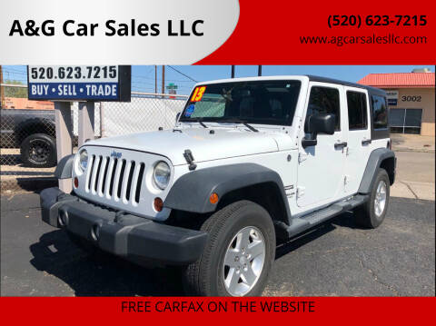 2013 Jeep Wrangler Unlimited for sale at A&G Car Sales  LLC in Tucson AZ
