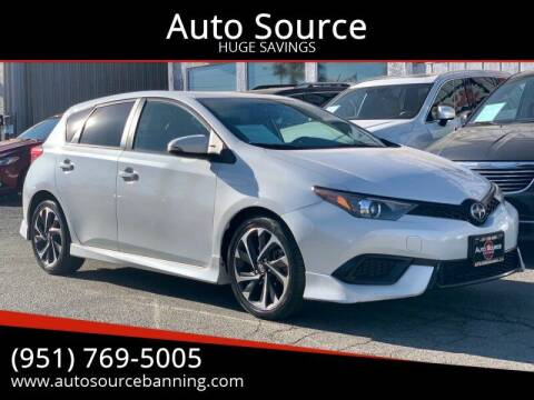 2016 Scion iM for sale at Auto Source in Banning CA