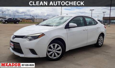 2015 Toyota Corolla for sale at Meador Dodge Chrysler Jeep RAM in Fort Worth TX